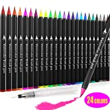 Watercolor Pens Set of 24 Colors, Jr.White Watercolor Markers Paint Brush Pens for Painting,Drawing,Lettering,Calligraphy, Real Brush Pens for Artists, Adults, Kids and Beginner Painters (Color: watercolor pens set of 24 Assorted Colors)