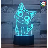 Cherish tea Cat 3D LED Night Light,3D Optical Illusion Visual Lamp 7 Colors Gradual Smart Touch Bedroom Decor Desk Lamp for Kids,Baby,Boys or Girls(Smiley Cat) (Color: Smiley Cat, Tamaño: Smiley Cat)