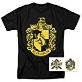 Popfunk Harry Potter Hufflepuff Logo Hogwarts T Shirt (X-Large) (Color: Hufflepuff Yellow, Black, Tamaño: X-Large)