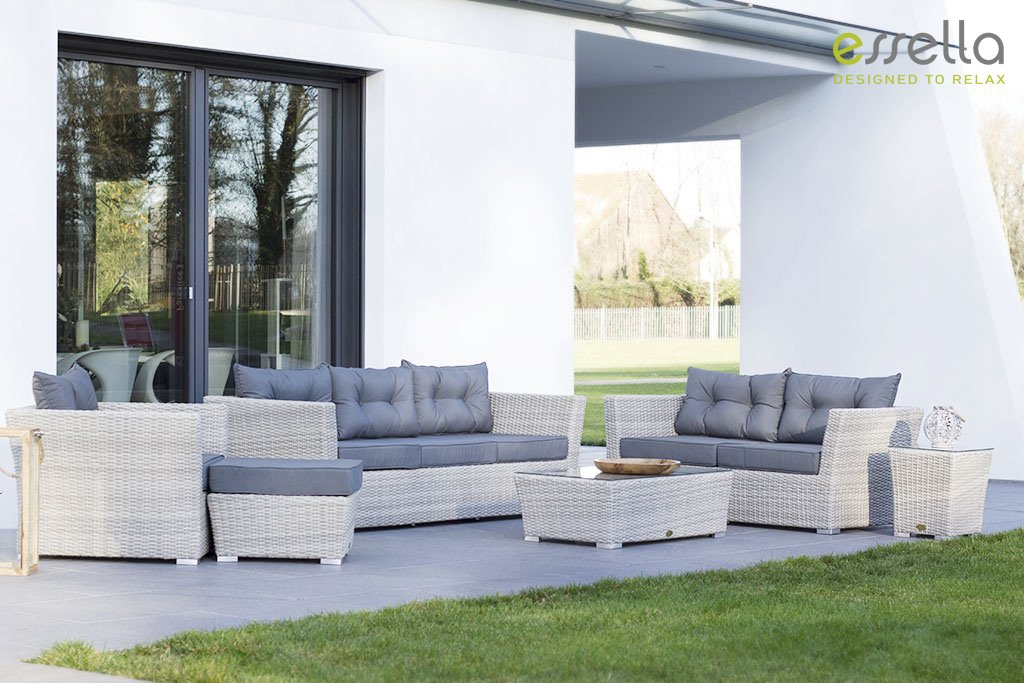essella polyrattan garnitur new orleans in shabby wei geflecht halbrund g nstig bestellen. Black Bedroom Furniture Sets. Home Design Ideas
