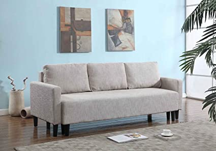 Large Beige Cloth Modern Contemporary Upholstered Quality Sleeper Sofa Futon