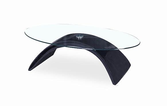 Tavolino in stile contemporaneo per salotto, in vetro, colore: Bianco Black