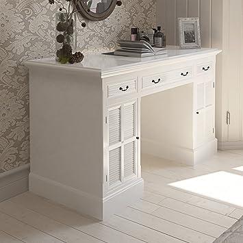 vidaXL Scrivania bianca a piedistallo doppio con armadietti e cassetti