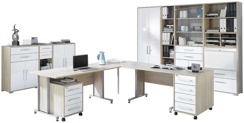 MAJA-Möbel 1205 2556 Büroprogramm SYSTEM, Sonoma-Eiche-Nachbildung - weiß Hochglanz