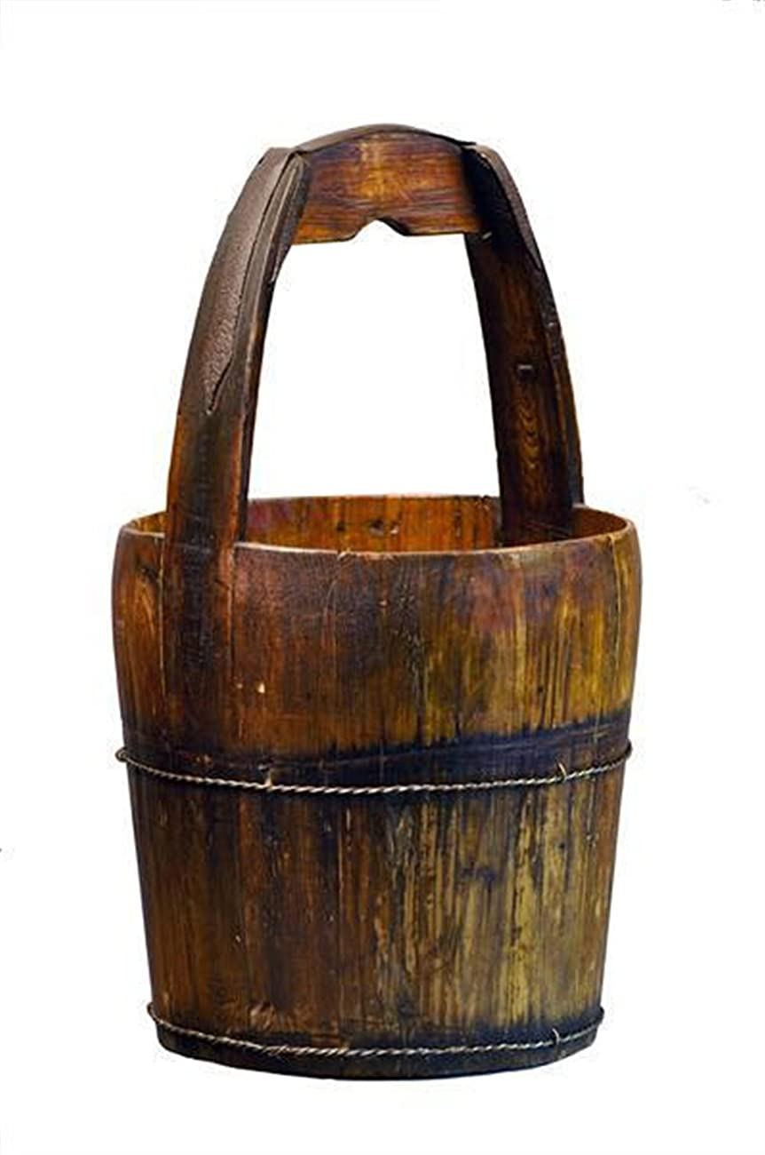 Antique Revival Ridged-Handle Wooden Water Bucket, Natural 0