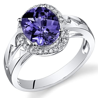 Revoni 14ct White Gold Oval Alexandrite Diamond Ring (3.4 cttw)