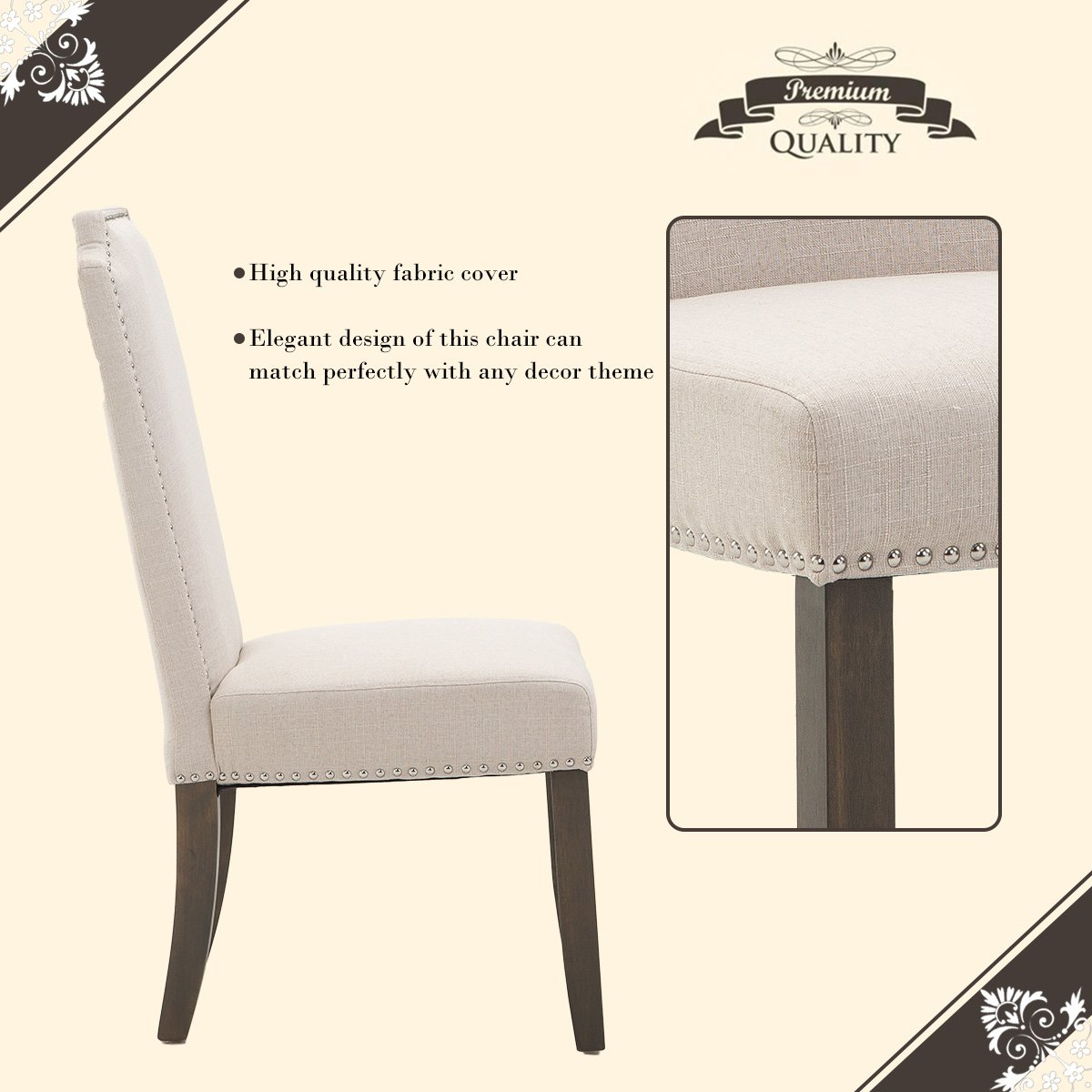 Merax Set of 2 Stylish Upholstered Fabric Dining Chairs with Nailhead Detail and Solid Wood Legs (Beige)