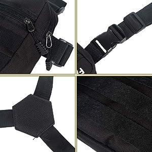 Trido Universal Chest Rig Bag Adjustable Functional Shoulder Pack Molle Vest Pouch for Men Women (New Black) (Color: new black)