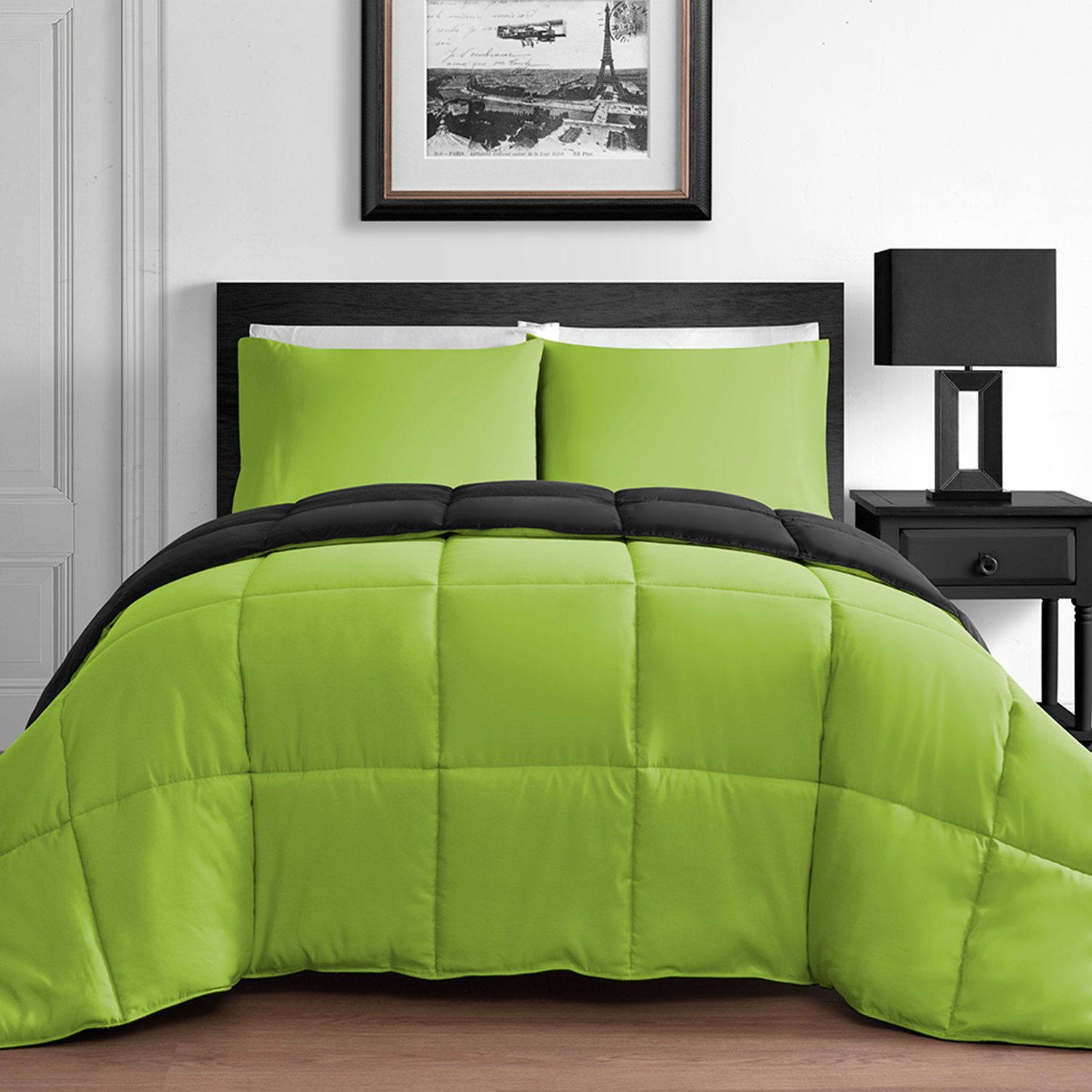 Reversible comforter sets ease bedding with style Green and black bedroom