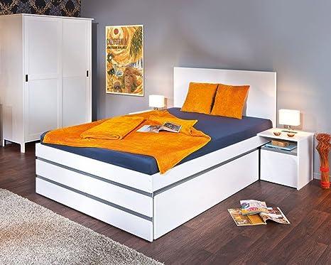 lit multi rangement coloris blanc/gris couchage 140 x 200 cm - Dim : 140 x 205 x 100 cm -PEGANE-