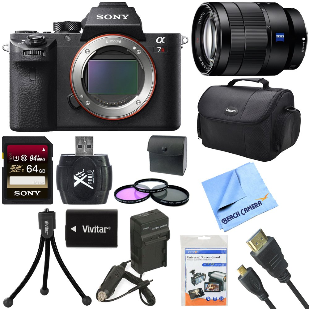 Sony a7R II Full-frame Mirrorless Interchangeable 42.4MP Camera 24-70mm Lens Bundle includes a7R II Mirrorless Camera, Vario-Tessar 24-70mm Full Frame Lens ..