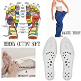 Euone Insoles Pad Clearance, Memory Cotton Magnetic Massage Leisure Shoe Insoles Gel Pad Therapy Acupressure Foot Care Cushion (Color: As Shown, Tamaño: US:women :6-14 MEN :4.5-12.5)