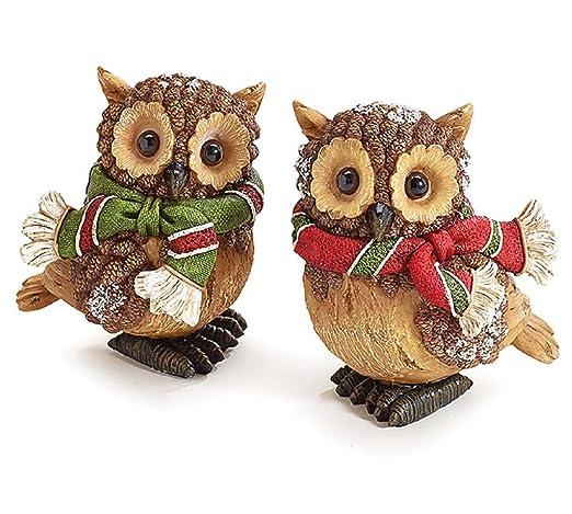 Set Of 2 Christmas Snow Owl Figurines Adorable Holiday