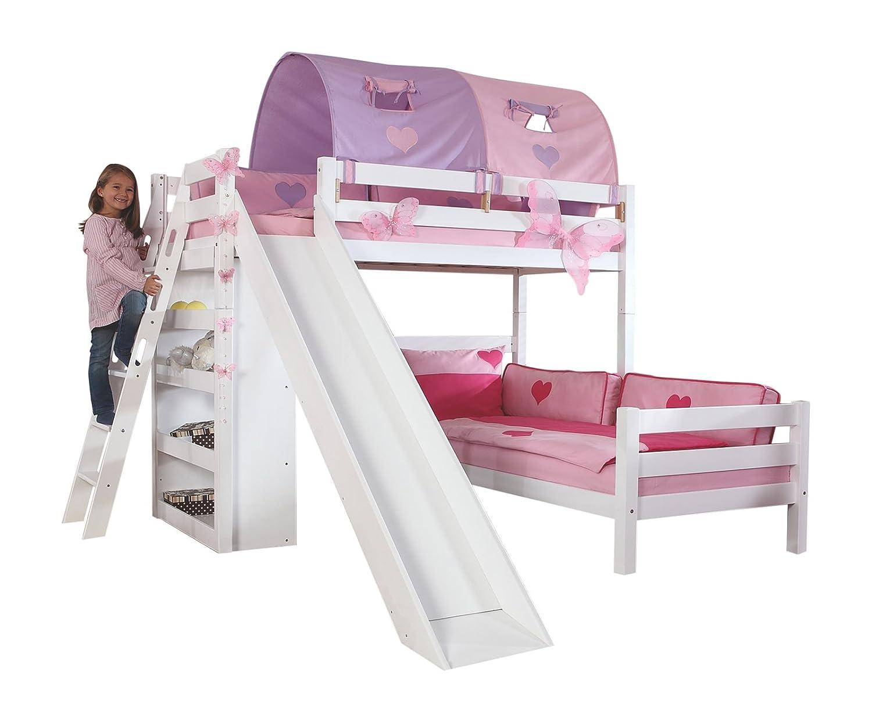 Relita BE3101117-B90+TX5082039 Etagenbett SKY, Maße 230 x 160 x 240 cm, Liegefläche 90 x 200 cm, Buche massiv weiß lackiert, mit Tunnel purple / rosa herz günstig online kaufen