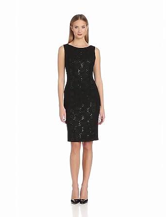Anne Klein Women's Matte Jersey and Scallop Lace Dress, Black, 2