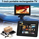 7 Inch High Resolution Colour TV - TFT LED DVB-T-T2 Digital Analog Television Rechargeable Portable TV (Color: Black)
