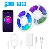 Smart LED Strip Lights, 32.8Ft Waterproof Alexa-Enabled/Google Assistant Voice Control Smart Phone Controlled Flexible SMD 5050 RGB LED Tape Light Kit Compatible with Android and iOS (400