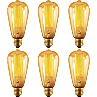 6-Pack Oak Leaf Edison 40W Incandescent Filament Light Bulb