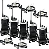 Retevis RT7 Two Way Radios with Earpieces UHF 400-470MHz 16 CH FM Walkie Talkies with 2 Pin Covert Acoustic Tube Earpiece(5 Pack)