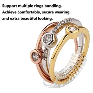 12 PCS Ring Size Adjuster,Ring Guard Ring Size Reducer for Loose Rings,3 Sizes for Any Rings with Jewelry Polishing Cloth