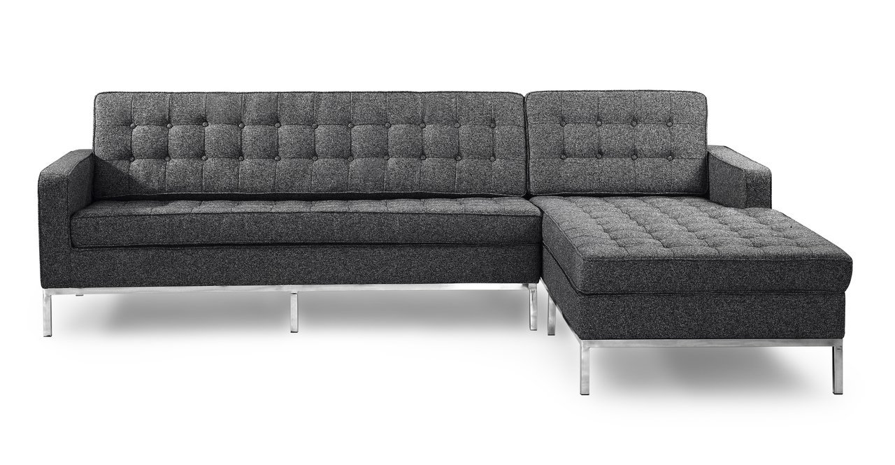 Kardiel Florence Knoll Style Sofa Sectional Right - Carbonite Houndstooth Twill