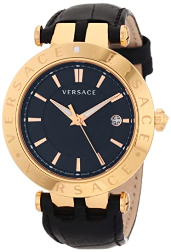 Versace Men's 23Q80D008 S009 V-Race 3 Hands 18K Rose Gold-Plated 3-Interchangeable Rings Leather Watch