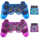 Wireless Controller for PS2 Playstation 2 Dual Shock 2 - ClearBlue and ClearPurple (Color: ClearBlue and ClearPurple)