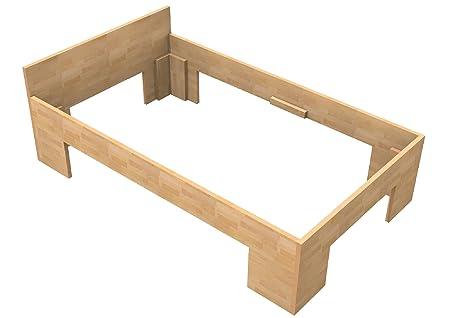 Baßner Holzbau 27mm Echtholzbett Massivholzbett Buche 120x200 Fuß II 49cm Rahmenhöhe
