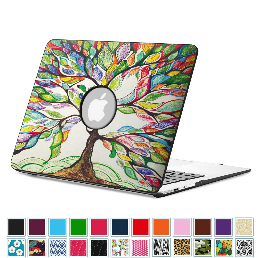 "Fintie MacBook Air 13 Inch Case - Premium Vegan Leather Coated Hard Shell Protective Case Cover For Apple MacBook Air 13.3"" (A1466 / A1369), Love Tree"