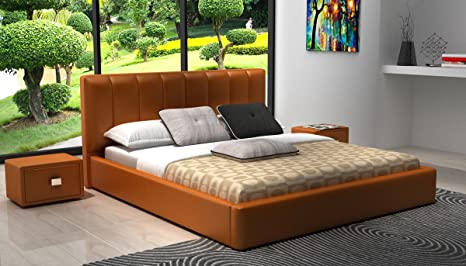 Modrest D534 Modern Orange Bonded Leather Bed