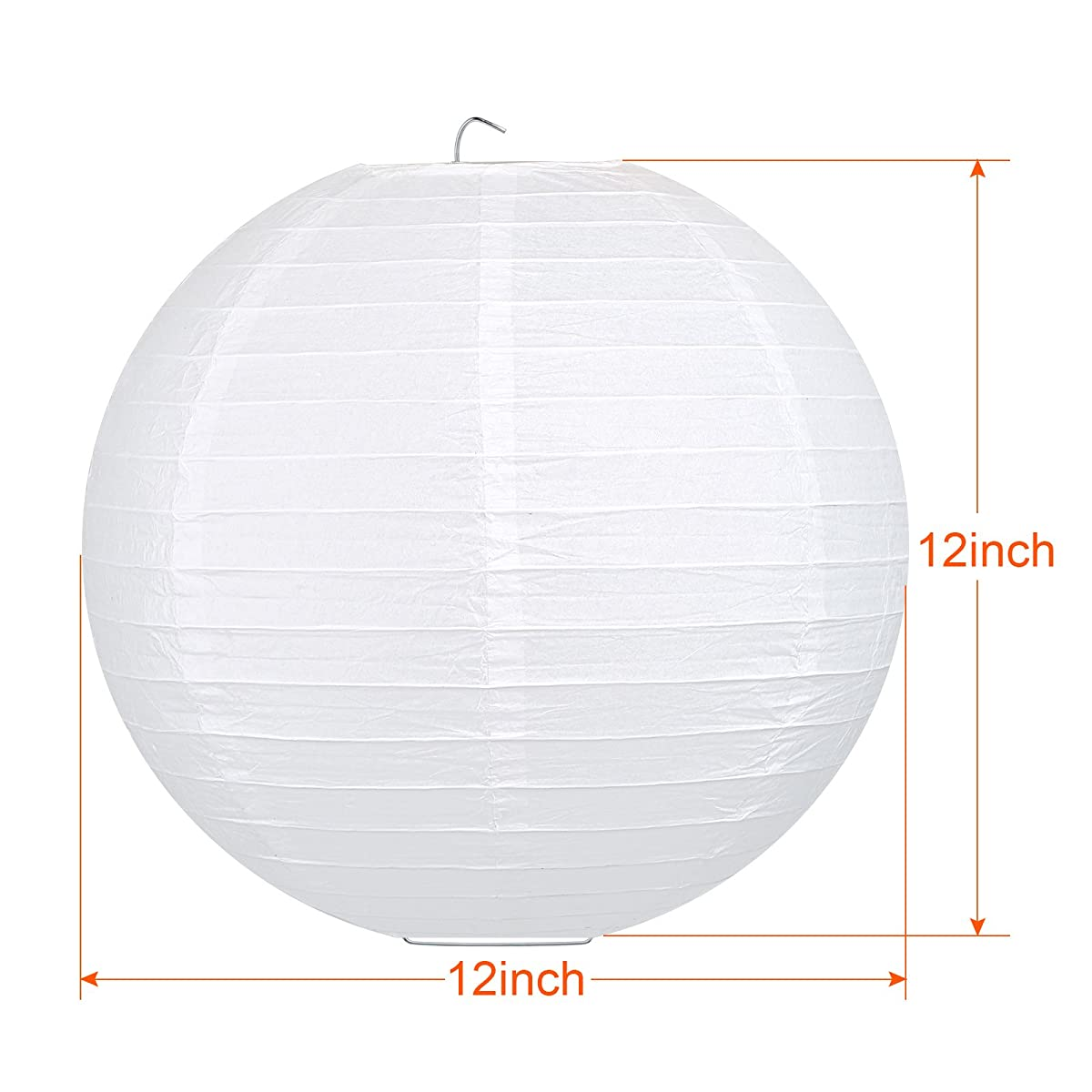 LIHAO 12 Inch White Round Paper Lanterns (10 Pack)