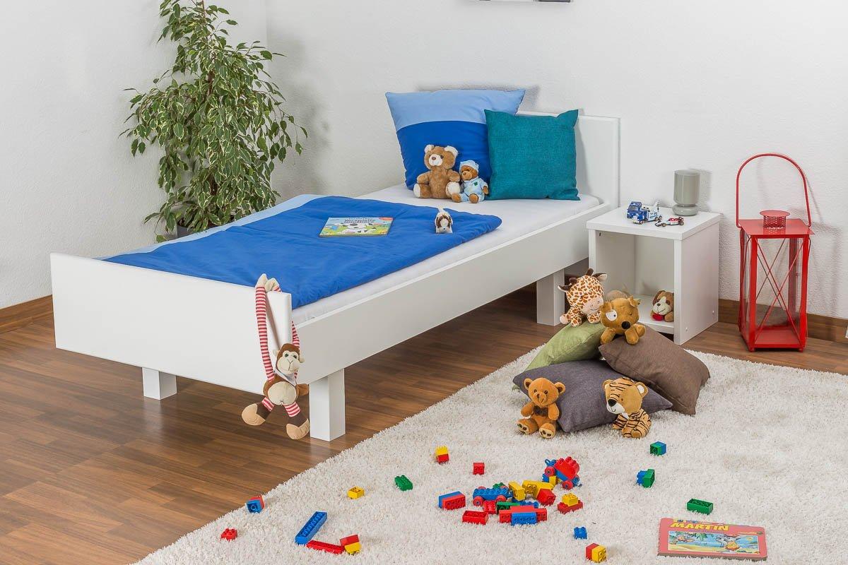 Kinderbett / Jugendbett Buche massiv Vollholz weiß lackiert 116, inkl. Lattenrost – Abmessung 90 x 200 cm