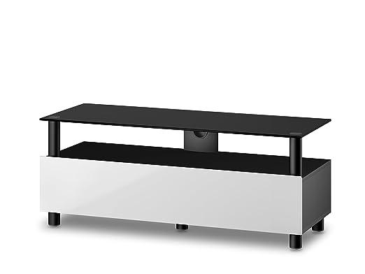 Accord TRN2110 B-WHT Sonorous TV-Möbel fur 50 Zoll Fernseher, Holz, weiß, 45 x 120 x 45 cm