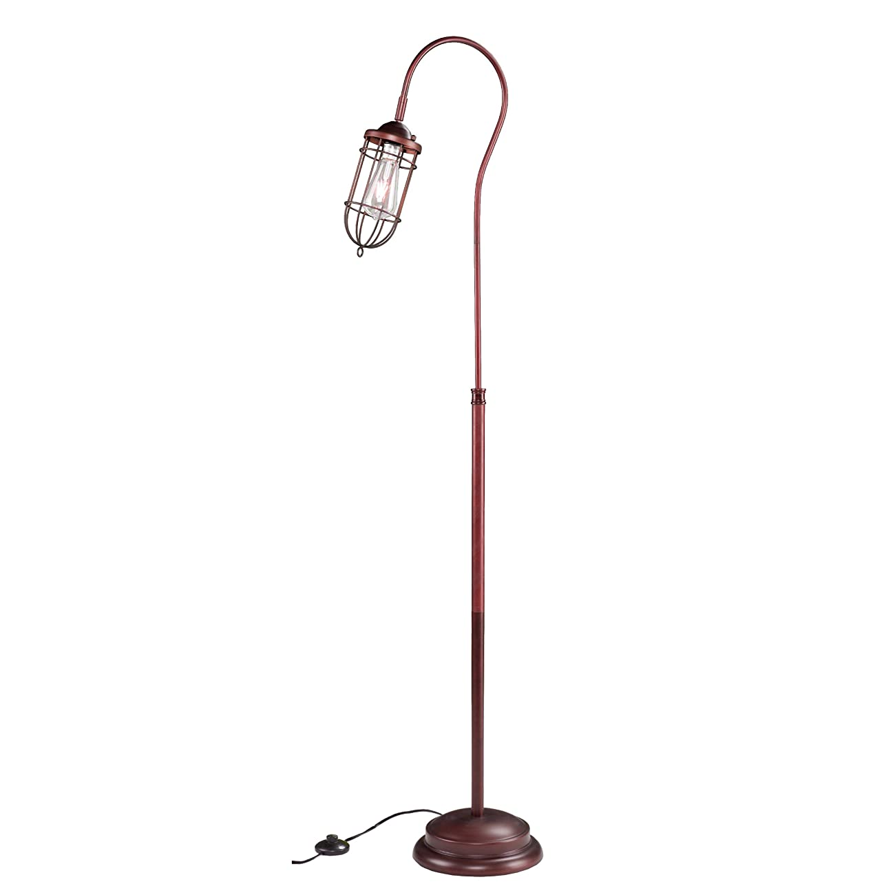 Contemporary/Reading/Modern Steel Taylon 100W Floor Lamp (OS2215TL). 6 Feet Long Cord Length. Distinctive Cage-Style Shade. In A Brushed Bronze Finish - Brown 1