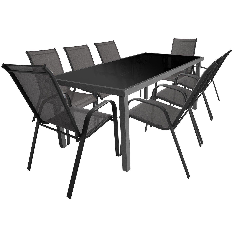 9-teiliges Terrassenmöbel Set Aluminium Glastisch 180x90cm + Gartenstühle Stapelstühle Stahlgestell pulverbeschichtet mit Textilenbespannung Sitzgruppe Sitzgarnitur Gartengarnitur online kaufen
