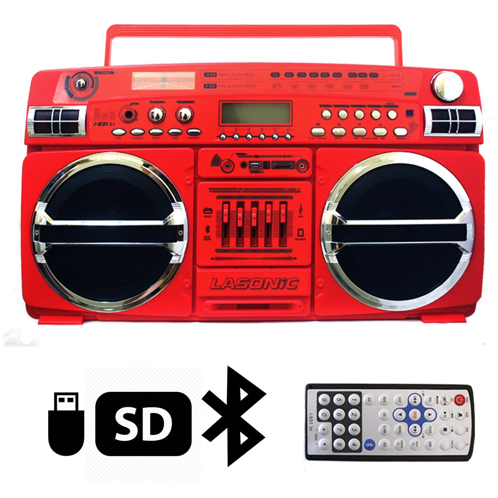 Lasonic i-931BT Portable AM/FM Radio Bluetooth Ghetto Blaster Boombox Speakers (i-931BT, RED / Chrome) 0