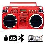 Lasonic i-931BT Portable AM/FM Radio Bluetooth Ghetto Blaster Boombox Speakers (i-931BT, RED / Chrome)