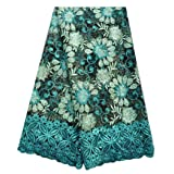 SanVera17 African Lace Net Fabrics Nigerian French Fabric Rope Embroidered and Manual Beading Guipure Cord Lace for Party Wedding 5 Yards (Green) (Color: Green, Tamaño: 48 Inches)