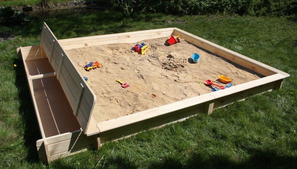 Sandkasten Yanick mit Sitz-Staukasten Kiefernholz natur Sandkiste