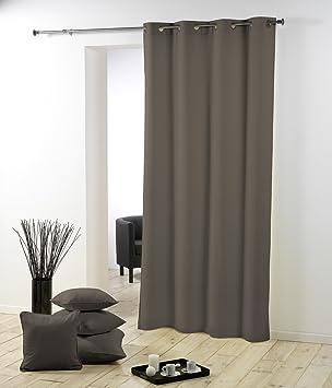 5 douceur d 39 int rieur 1601053 rideau oeillets oeillets polyester uni essentiel taupe. Black Bedroom Furniture Sets. Home Design Ideas
