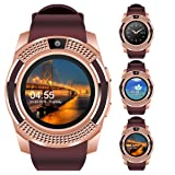 "Padcod V8 Smart Watch Bluetooth with Camera, 1.22"" Display OGS Touch Screen,Pedometer,sedentary Reminder,Sleep Monitor,Instant Notification Anti-Lost smartwatch (Brown+Rose Gold) (Color: Brown+Rose Gold)"