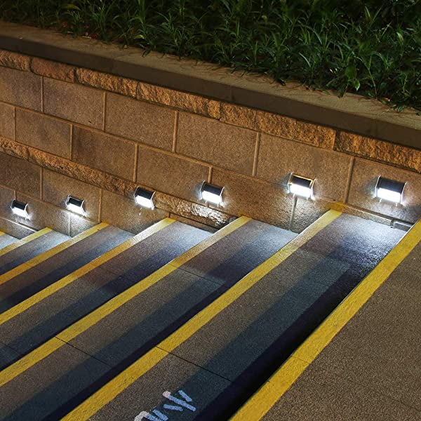 [Upgraded 3 LED] HKYH Newest 6 Pack 3 LED Solar Bright Step Light Stairs Pathway Deck Garden Lamps Stainless Steel Wall Yard Outdoor Illuminates Patio Lamps (Color: 6 Pack)