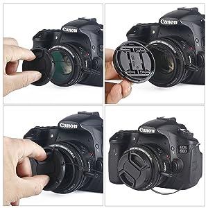 Unique Design Lens Cap Bundle, 3 Pcs 55mm Center Pinch Lens Cap and Cap Keeper Leash for Canon Nikon Sony DSLR Camera + Microfiber Cleaning Cloth (Tamaño: 55mm)