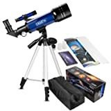 CSSEA 70mm Telescope for Kids and Astronomy Beginners, Travel Scope with Adjustable Tripod & Finder Scope & Two Eyepieces(K25mm & K10mm)-Perfect for Children Educational and Gift (Color: Blue, Tamaño: Medium)