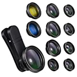 Phone Camera Lens,11 in 1 0.65X Wide Angle Lens+230° Fisheye Lens+20X Macro Lens+2X Telephoto Lens+CPL+6 Kaleidoscope Lens+Starburst Lens+Radial+Flow+2 Color Filter Lens for iPhone and Android (Color: Black, Tamaño: Upgraded 11 IN 1)
