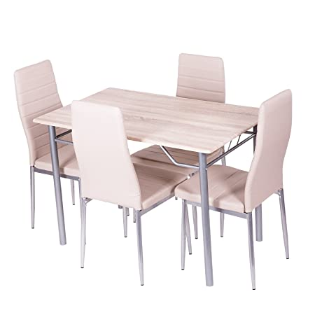 Esstischgruppe Sitzgruppe beige mit 4 Stuhlen und Esstisch 110x70 cm