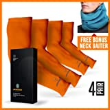 ARMORAY Arm Sleeves for Men or Women- Tattoo Cover - For Golf Running Cycling (Color: Orange, Tamaño: 4 Pair)
