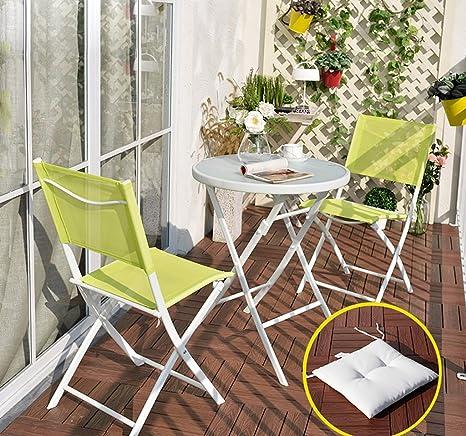 Gartenmöbel-Sets Eisen dreiteilige Tische und Stuhle / Outdoor Balkon Klapptische und Stuhle / Freizeit Couchtische und Stuhle Kombination Tische Stuhle Möbel Sets ( Farbe : 3 )