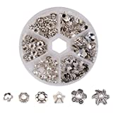 Pandahall 1Box/180pcs 6 Styles Tibetan Style Alloy Flower Petal Bead Caps Beads Spacers for Jewelry Makings 7-10mm in Diameter Antique Silver TIBE-JP0002-AS (Color: 7~10mm-silver, Tamaño: one size)