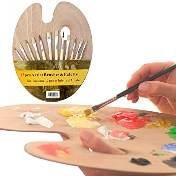Artists oval wooden painting palette with 12 high quality paint ...